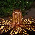 Solar Big Lantern Outdoor Hanging Lanterns Solar Lights Garden Lantern Patio Decor Metal Yard Art Garden Accessories Outdoor Decorations for Porch,Yard, Lawn, Patio