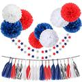"""31pcs Tissue Paper Pom Pom Silver Navy Blue Red White Tassel Garland Party Decorations 10"""" 12"""" Paper Flowers Twinkle Star Garland Kit for Birthday Baby Shower Wedding Nursery Decorations"""