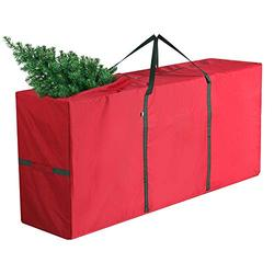 """Coogam Christmas Tree Storage Bag Fits up to 7.5 ft Artificial Tree - Super Durable Oxford Canvas Xmas Decorations Container Duffel Sack in Large Size 53"""" x 13"""" x 27"""" (Red)"""