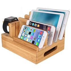 MOZOWO Bamboo Wood Multi-Device Desktop Charging Dock Station Charger Holder Cradle Stand Compatible iPhone Xs MAX XR X 8 7 6 6S Plus iPad Mini Pro Air Apple Watch/iWatch 2 3 4 Samsung Smartphones