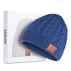 ASIILOVI Bluetooth Beanie, Bluetooth 5.0 Wireless Winter Warm Knit Hats Cap with Double Fleece Lined, Mic and HD Speakers, Gifts for Outdoors Family Thanksgiving Christmas-Unisex (02-Blue)