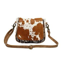 Myra Bag Flap Over Cowhide & Leather Small Crossbody Bag S-1215