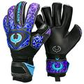 Renegade GK Vortex Strom Goalie Gloves | 3.5+3mm Hyper Grip & 4mm Duratek | Black, Purple, & Blue Goal Keeper Gloves (Size 10, Adult, Mens, Roll Cut, Level 3)
