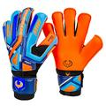 Renegade GK Fury Siege Goalie Gloves with Pro-Tek Fingersaves | 4mm Giga Grip & 4mm Duratek | Orange, Blue, Black Goal Keeper Gloves (Size 10, Adult, Mens, Roll Hybrid Cut, Level 4)
