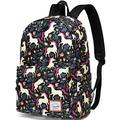 School Backpack for Girls,VASCHY Water Resistant Durable Casual Schoolbag Bookbag for Middle School Students in Black Unicorn