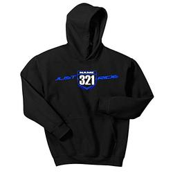 Just Ride Motocross Number Plate Custom Personalized Hoodie Sweat Shirt YZ (MEDIUM, BLUE/LIGHT BLUE-WHITE #'S)