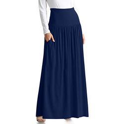 Navy Blue Skirts for Women Reg and Plus Size Long Skirt Navy Blue Maxi Skirt Ankle Length Skirt Casual Maxi Skirt Womens Long Skirt (Size XXX-Large, Navy Midnight)