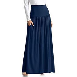 Navy Blue Skirts for Women Reg and Plus Size Long Skirt Navy Blue Maxi Skirt Ankle Length Skirt Casual Maxi Skirt Womens Long Skirt (Size XX-Large, Navy Midnight)