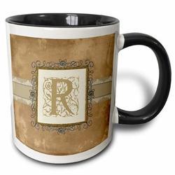 3dRose Initial Vintage Elegant Vines & Flowers in & Pewter Look Coffee Mug Ceramic in Black, Size 3.75 H x 4.0 W in   Wayfair mug_186364_4