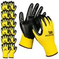 ACKTRA Nitrile Coated Nylon Safety WORK GLOVES 12 Pairs, Knit Wrist Cuff, Multipurpose, for Men & Women, WG003 Yellow Polyester, Black Nitrile, Medium