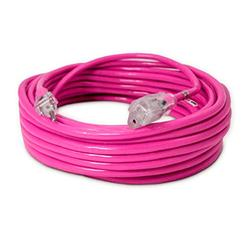 50-ft 14/3 Heavy Duty Lighted SJTW Indoor/Outdoor Extension Cord by Watt's Wire - Pink 50' 14-Gauge Grounded 15-Amp Three-Prong Power-Cord (50 foot 14-Awg)
