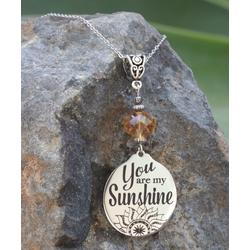 Boho Treasures by Wise Creations Women's Necklaces Gold, - Crystal & Stainless Steel 'You Are my Sunshine' Pendant Necklace
