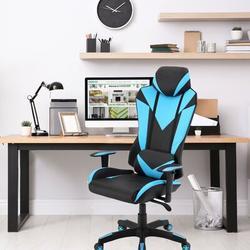 "Ebern Designs Ergonomic Gaming Chair w/ Adjustable Gas Lift Seating & Lumbar Support, Microfiber in Blue/Black, Size 25.6"" L x 29.1"" W x 54.3"" H"