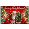 Wamika Merry Christmas Flag 5x8 FT Winter Holiday Retro Santa Claus Xmas Tree Ribbon Bow Bell Snowflakes Garden Yard House Flags Banner with Brass Grommets Indoor Outdoor Party Christmas Decorations
