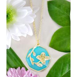 Kwanli Women's Necklaces 14tKt - Amazonite & 14k Gold-Plated Floral Pendant Necklace
