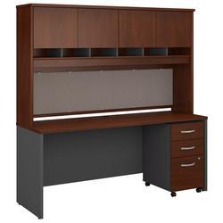 Series C 72W x 24D Office Desk w/ Hutch & Mobile File Cabinet in Hansen Cherry - Bush Furniture SRC081HCSU