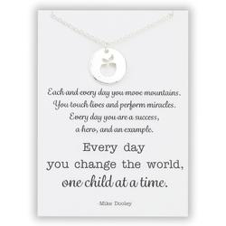 Designs by KaraMarie Women's Necklaces - Silvertone Teacher Pendant Necklace & Card