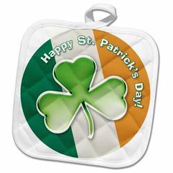 3dRose Chic Clover w/ Text Happy St Patricks Day PotholderCotton in Green/Orange/White, Size 10.0 W in | Wayfair phl_41933_1