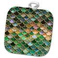 3dRose Girly Luxury Elegant Mermaid Scales Glitter Potholder Polyester/Cotton in Black/Green/Orange, Size 10.0 W in | Wayfair phl_272867_1