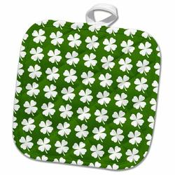 3dRose Four Leaf Clover PotholderCotton in Green/White, Size 10.0 W in   Wayfair phl_242315_1