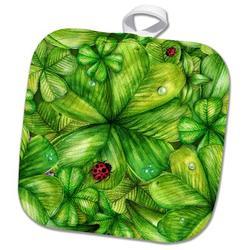 3dRose Four Leaf Clovers & Lady Bugs PotholderCotton in Green, Size 10.0 W in | Wayfair phl_255079_1