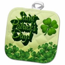 3dRose Saint Patricks Day Greeting w/ a 4 Leaf Clover PotholderCotton in Green/Yellow, Size 10.0 W in   Wayfair phl_203135_1
