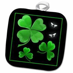 3dRose A Pretty Shamrock Clover Design on a Dark Background w/ Little Silvery Butterflies PotholderCotton in Black/Green, Size 10.0 W in | Wayfair