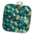 3dRose Image of Close Up of Aqua & Copper Mermaid Scales Potholder Polyester/Cotton in Blue, Size 10.0 W in | Wayfair phl_279969_1