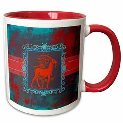 Symple Stuff Gerstner Majestic Goat Next to Tree Pewter Look Frame Coffee Mug Ceramic in Blue/Brown/Red, Size 3.75 H x 4.0 W in | Wayfair
