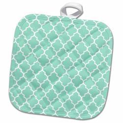 3dRose Light Quatrefoil Moroccan Tile Style ModernGeometric Clover Lattice PotholderCotton in Green/Blue, Size 10.0 W in | Wayfair phl_120256_1