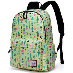 School Backpack for Girls,VASCHY Water Resistant Durable Casual Schoolbag Bookbag for Middle School Students in Yellow Cactus