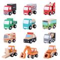 Yosoo 12 PCS Wooden Town Vehicles Set Wooden Toys Set Toy Car Truck Wood Push Toys Educational Traffic Toys Children Gift Mini Car Model Construction Toy Train Sets