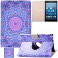 Artyond Kindle Fire HD 8 Case, Lightweight PU Leather [Card Slots] Smart Case Flip Stand Magnet with [Auto Wake/Sleep] Protective 360 Rotating Case for Amazon Kindle Fire HD 8 2016 Release(Flower8)