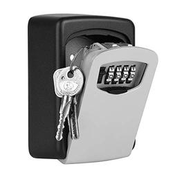Flexzion Key Lock Box - Key Storage Safe Box Cabinets Wall Mounted 4 Digit Combination Lock, Security Key Holder, Code Storage Case, Cipher Lock Box for House Indoors Outdoors Weather Rust Resistant