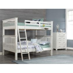 Highlands Harper Full Over Full Bunk Bed w/ Hanging Nightstand in White Wood - Hillsdale 12055-2NHN