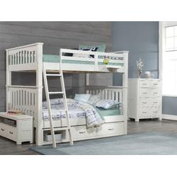 Highlands Harper Full Over Full Bunk Bed w/ Two Storage Units & Hanging Nightstand in White Wood - Hillsdale 12055-2N2SHN