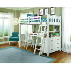 Highlands Twin Loft Bed w/ Desk, Chair & Hanging Nightstand in White Wood - Hillsdale 12070NDCHN
