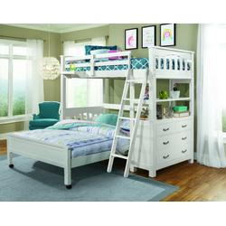 Twin Loft Bed w/ Full Lower Bed & Hanging Nightstand in White Wood - Hillsdale 12070NLFBHN