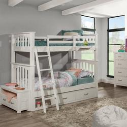 Highlands Harper Twin Over Twin Bunk Bed w/ Two Storage Units & Hanging Nightstand in White Wood - Hillsdale 12051N2SHN