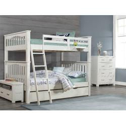 Highlands Harper Full Over Full Bunk Bed w/ Trundle & Hanging Nightstand in White Wood - Hillsdale 12055-2NTHN