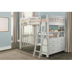 Full Loft Bed w/ Full Lower Bed & Hanging Nightstand in White Wood - Hillsdale 12080NHN