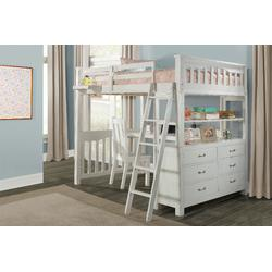 Highlands Full Loft Bed w/ Desk, Chair & Hanging Nightstand in White Wood - Hillsdale 12080NDCHN
