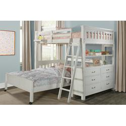 Full Loft Bed w/ Full Lower Bed & Hanging Nightstand in White Wood - Hillsdale 12080NLFBHN