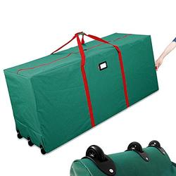 HOMEYA Christmas Tree Storage Bag, Rolling Heavy Duty Canvas Ornament Container Duffle with Wheels & Handles for Xmas 9 Feet Artificial Fake Tree Holiday Decorations Garland Warp Wreath - Green