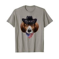 Beagle Dog in Cowboy Hat, Flag of USA Bandana, T-Shirt
