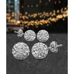 bliss Women's Earrings Silver - Cubic Zirconia & Sterling Silver Fireball Stud Earrings Set