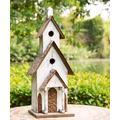 Glitzhome Bird Houses - White Oversize Rustic Wood Birdhouse