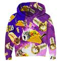 Unisex Kids Sweater Funny Taco Cat Hoodies Cute Pizza Cat Pullover School Purple Sweatshirt Colorful 3D Full Printing Jackets Clothes Comfy Party Outerwear with Pockets 9-10 Years