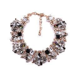 Ella & Elly Women's Necklaces Black - Black & Goldtone Crystal Statement Necklace