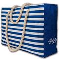 Beach Tote Bag | Large Waterproof Sandproof with Zippered top, cotton rope handles and multiple pockets (Blue)